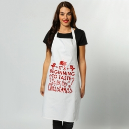"Christmas apron - ""Its beginning to taste"""