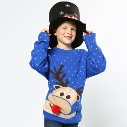 Reindeer - 2D kids Christmas jumper