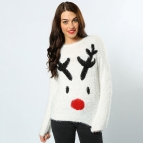 Women's eyelash yarn reindeer jumper